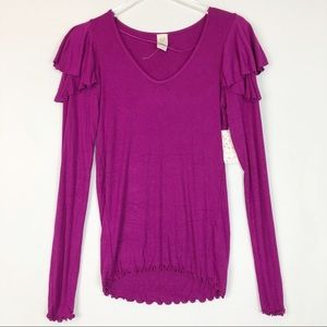 Free People Ruffle Top Medium Purple Long Sleeve